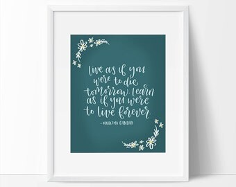 Gandhi Art Quote, Inspiring Wall Decor, Teal Wall Art, Inspirational Quote Print, Printable Quote, Gandhi Art, Printable Home Decor Art.