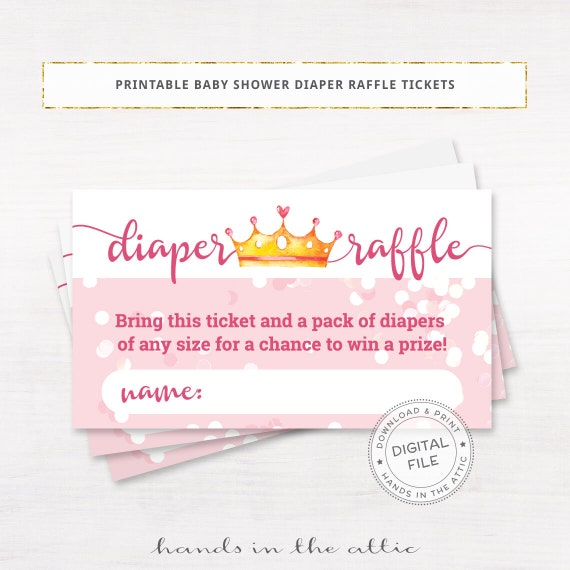 Baby Shower Games Raffle Tickets, Diaper Raffle Cards, Printable Diaper Request Slips, Baby Girl
