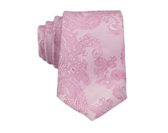 Pink Paisley Tie. Mens Silk Necktie.Wedding Tie.Pink Skinny Tie.Gift for Him