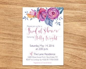 Bridal Shower Invitation DIY PRINTABLE Customizable Digital Print