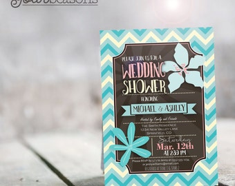 Turquoise Chevron Wedding Shower Invitation - Personalized Printable DIGITAL FILE
