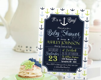 Nautical Anchor Baby Shower Invitation - Personalized Printable DIGITAL FILE - Boy Baby Shower Invite