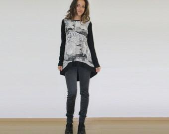 Printed top, Long sleeve tunic, Asymmetric top, Printed tunic, Loose top, Long top