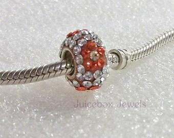 Orange Flower SWAROVSKI Crystal Pave,925 Sterling Silver Core, Large Hole Charm Bead, Fits European Charm Bracelets  Y101