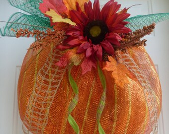 Fall Deco Mesh Wreath/Fall Wreath/Fall Mesh Wreath/Autumn Deco Mesh Wreath/Thanksgiving Wreath/Pumpkin Wreath/Fall Door Wreath/Pumpkin Decor