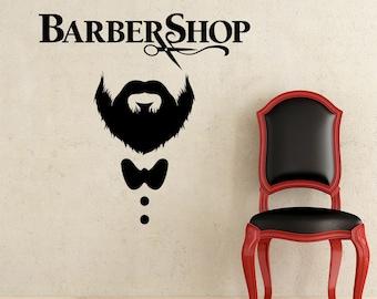 Barber Shop Wall Decal Hairdressing Salon Vinyl Sticker Decals Beauty Haircut Men Mustache Scissors Window Art Decor NS1036