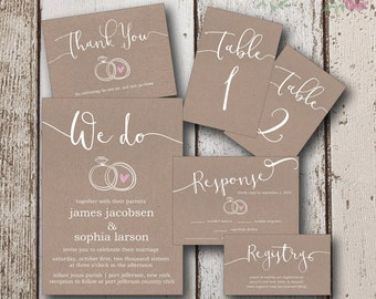 Rustic Wedding Invitation Instant Download, Wedding Invitations, Kraft Paper Invitation, Simple DIY Invites, Table Numbers 1-24+