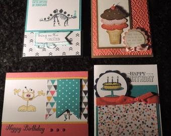 Handmade Children's Birthday Cards (Pack of 4)