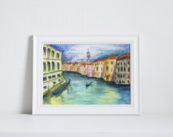 5x7 Venice, Italy Print of Original Grand Canal Watercolor Fine Art Painting, Home Decor, Wall Art, Gift Ideas