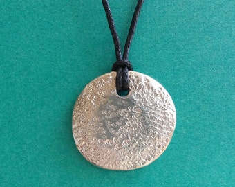 Crater: Pewter pebble necklace moon pendant with waxed cotton cord