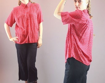 80s Blouse Vintage Top Short Sleeve Top Collared Shirt Red White Printed Cotton Button Up Top Size M/L