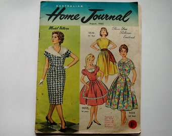 Australian Home Journal Magazine with free patterns - August 1960