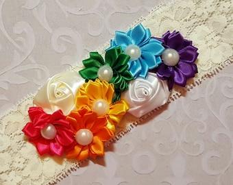 Rainbow Wedding Garter,Rainbow Garter,Rainbow Garter,Rainbow Bridal Garter,Rainbow Lace Garter,Rainbow Weddings,Plus size Garters,Garters