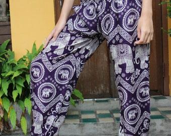 Hippie clothing Boho Pants Yoga Pants Elephant pants Tribal pants in Purple