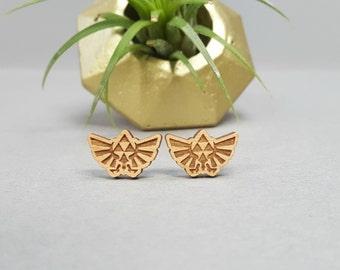 FREE US SHIPPING - Zelda TriForce Wingcrest Earrings - Laser Engraved on Alder Wood - Nintendo Legend of Zelda