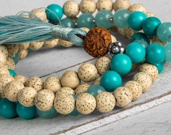 Yoga Mala Lotus Seed, Japa Mala, Yoga Necklace, Meditation Mala Necklace, Tassel Necklace, Prayer Beads