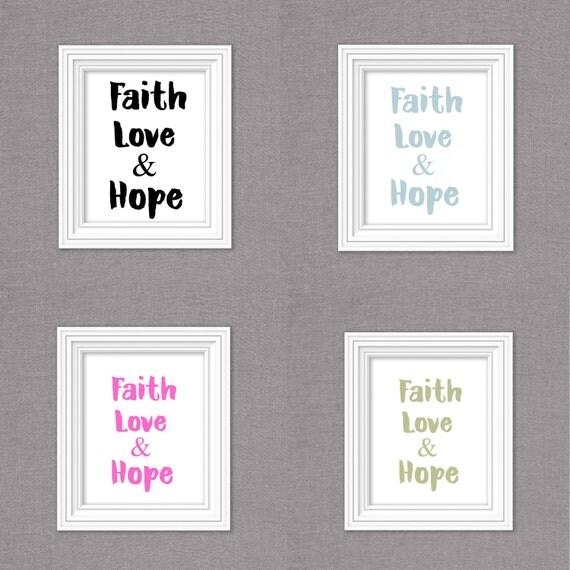 Faith hope love typography set wall decor bible verse wall for Faith decor