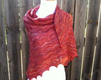 Sunset Lace Shawl, Boho textured shawl, SHIPS FREE