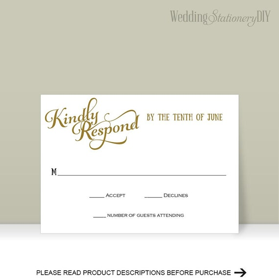 Influential image in printable rsvp card