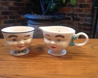 Bailey's Sugar Bowl and Creamer Set
