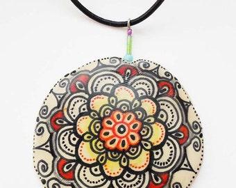 Mandala Zentangle Drawing Pendant Necklace, Polymer Clay Jewelry Necklace Pendant, Yoga Ethnic Jewelry Necklae,  Boho accessoires necklace