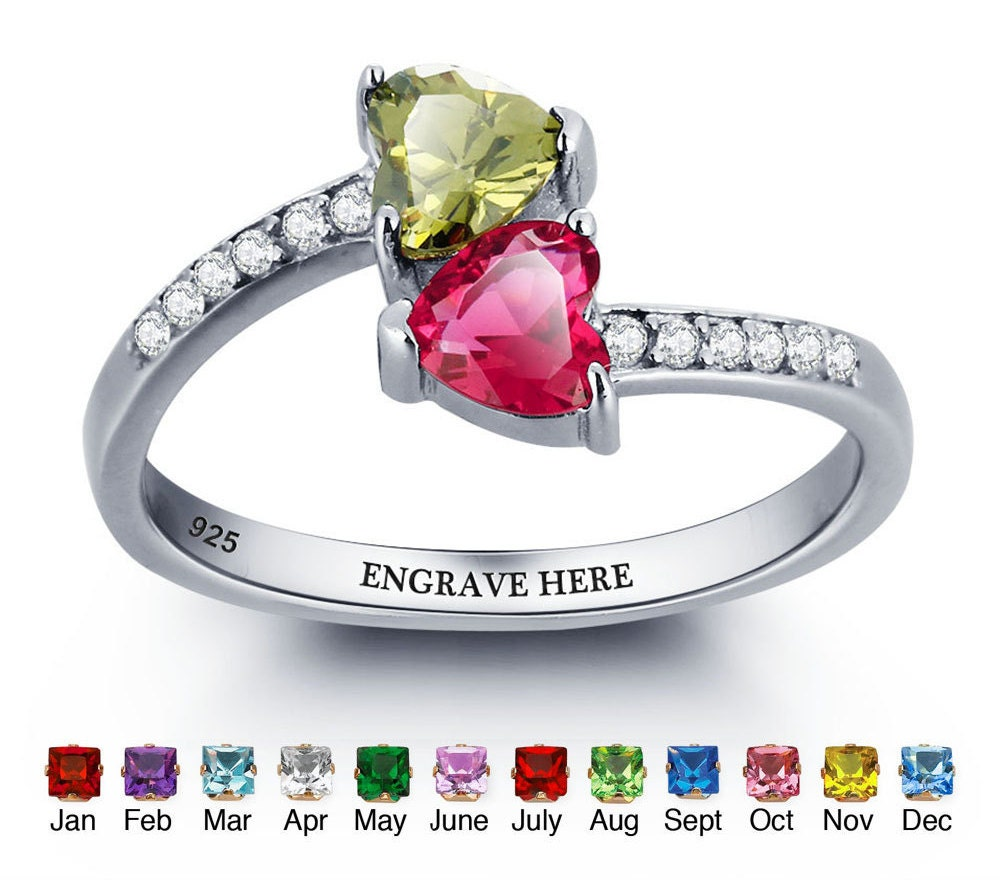birthstone promise ring duo hearts by