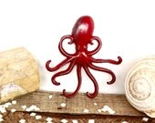 Red Octopus Hook - Nautical Decor - Red Bathroom Decor - Beach Decor - Bathroom Wall Hooks - Necklace Holder - Octopus Wall Art - Red Hooks