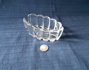 Clear Cut Glass Spoon Rest, Useful, Kitchen, Entertaining, Collectible, Vintage