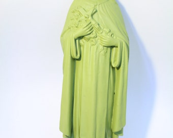 Virgin Mary painted dull green / signed Bacci