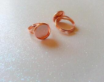 14mm Dark Rose Gold Plated Adjustable Ring Blanks - 4 Pcs