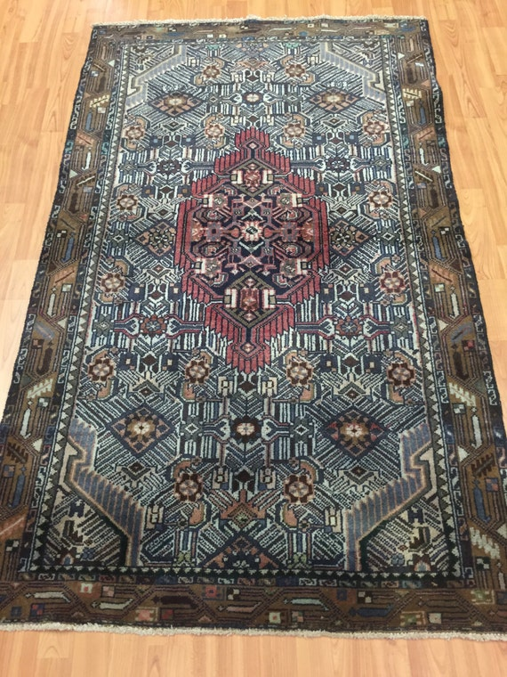 "3'3"" x 5'5"" Persian Hamadan Oriental Rug - 1950s - Hand Made - 100% Wool"