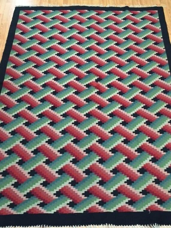 "5'9"" x 9' Turkish Kilim Oriental Rug - Hand Made - Two Sided - 100% Wool"