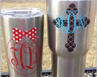 Circle Font Decal Etsy - Vinyl decals for cups