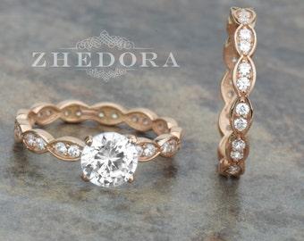Art Deco Engagement Ring Set In 14k Rose Gold 1.50 TCW , Milgrain Bridal Set