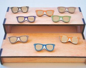 Wooden Laser Cut Wayfarer Sunglasses Brooch