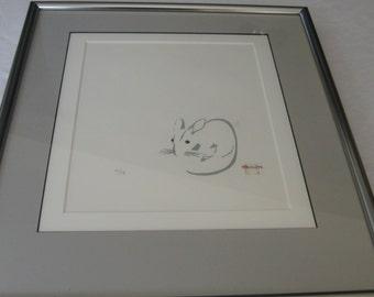 Framed Milton Kemnitz Mouse Print 7/15 Signed.