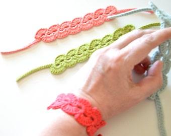Handcrafted bracelet. Crochet bracelet. Friendship bracelet. Knit bangles cotton. Hand Knit bracelet. Cute women gift. Yarn bracelet color.