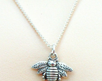 Silver Bee Necklace, Silver Bee Pendent, Silver Charm Necklace, Silver Necklace, Trendy Necklace