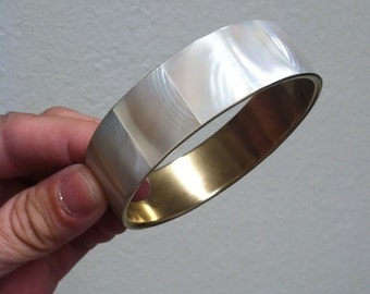 Vintage Mother of Pearl Brass Bangle (1970s)