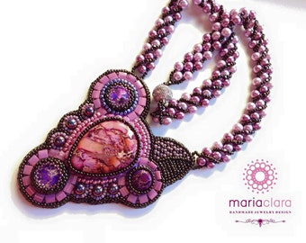 Pink Jasper stone necklace