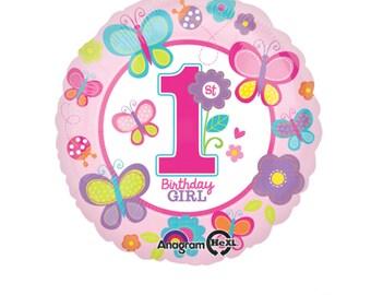 First Birthday Girl Balloon, Butterfly Balloon, Birthday balloon, 1st Birthday Balloon Decor, FGarden Birthday Decor, Pink Balloon