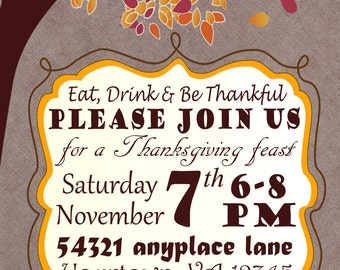 Fall Feast Thanksgiving Invitation / Custom Digital Download