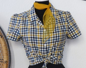 40s 50s Blouse Sue yellow blue vichy pattern