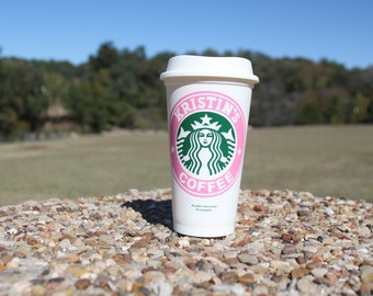 16oz Starbucks personalized to go cup with vinyl