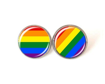 Gay Pride Rainbow Stud Earrings LGBT Antique Silver Pride Earrings Love is Love