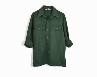 Vintage 70s Levi's Work Shirt in Forest Green  / 70s Men's Shirt / Levi's Panatela - men's small/medium