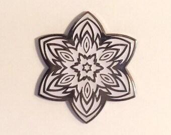 Star Flower B&W Lapel Pin