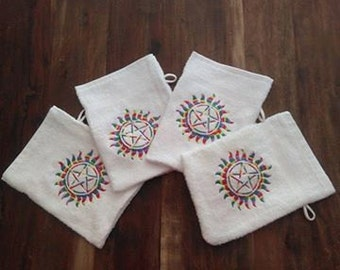 Supernatural Embroidered wash mitts.