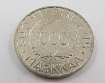 Finland 1952H Silver 500 Markkaa Coin.