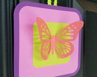 Butterfly 3D Birthday Party Door Sign Custom Colors